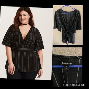 Torrid crepe striped tie back babydoll top size 1
